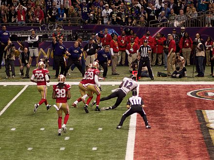 Jones scoring a touchdown during second quarter of Super Bowl XLVII Jacoby Jones Touchdown Super Bowl XLVII.jpg