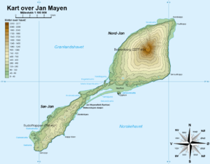 Jan Mayensfield - Map which includes the location of the airfield