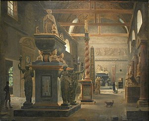 Musée national des Monuments Français - Jean-Lubin Vauzelle: The Musée des Monuments français in the chapel of the Petits Augustins convent in 1795.