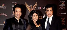 Jeetendra with his son Tusshar and daughter Ekta.jpg