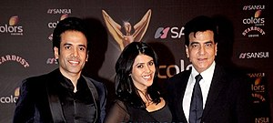 Jeetendra - Jeetendra (right) with daughter Ekta (center) and son Tusshar (left) in 2016