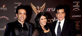 Ekta Kapoor - Ekta Kapoor (center) with brother Tusshar (left) and father Jeetendra (right)