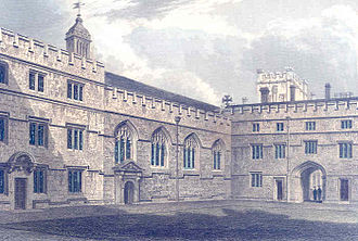Jesus College, Oxford - An 1837 engraving of the first quadrangle