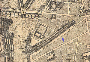Hôtel de Guénégaud - Image: Jeu de Paume de la Bouteille location on the 1652 Gomboust map of Paris