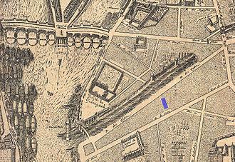 Hôtel de Guénégaud - Image: Jeu de Paume de la Bouteille location on the 1652 Gomboust map of Paris