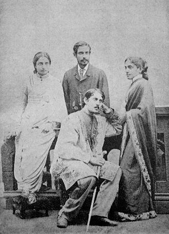 Jnanadanandini Devi - Standing R-L: Jnanadanandini Devi, Satyendranath Tagore, Kadambari Devi. Seated: Jyotirindranath Tagore