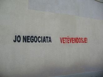 "Vetëvendosje - ""No negotiations, self-determination"" graffiti in Glogovac"