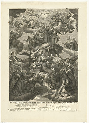 Martyrs of Gorkum - The Apotheosis of the Martyrs of Gorkum 1572, print made by Jean-Baptiste Nolin after a painting by Johan Zierneels, 1675