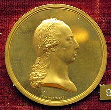 Medaille von Johann Nepomuk Würth in Gold von Franz II. (in der Pose eines römischen Imperators mit Lorbeerkranz) (1806) (Quelle: Wikimedia)