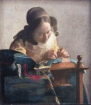 Las obras más conocidas de la pintura y la escultura. 300px-Johannes_Vermeer_-_The_lacemaker_(c.1669-1671)
