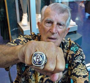 World Series ring - Johnny Pesky displaying a commemorative ring given to him by the Boston Red Sox after the 2004 World Series