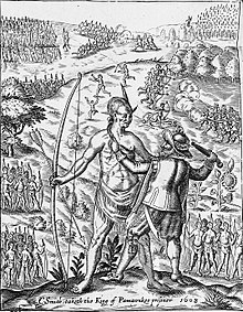 'John Smith taking the King of Pamunkey prisoner', a fanciful image of  Opechancanough from Smith's General History of Virginia (1624).