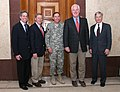 Johnny Isakson, Norm Coleman and John Cornyn meet with David Petraeus and Ryan Crocker.jpg