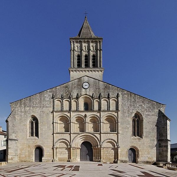 Facade of Saint-Gervais-Saint-Protais church (12th, 15th and 19th centuries), Jonzac, Charente-Maritime, France