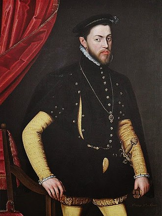 Philip II of Spain - Philip II wearing the order of the garter by Jooris van der Straeten, c. 1554