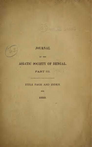 File:Journal of the Asiatic Society of Bengal Vol 62, Part 3.djvu