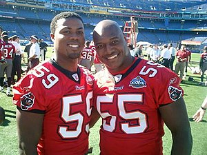 Derrick Brooks - Brooks (right) and Justin Smith on January 25, 2003