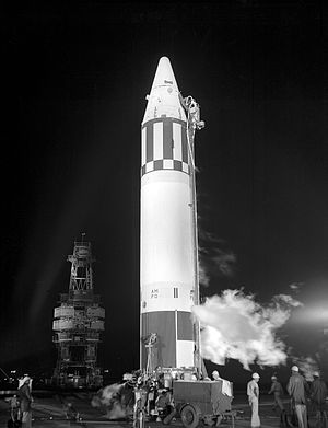 Miss Baker - Jupiter AM-18 stands ready for its 2:39 am launch at Cape Canaveral launch complex 26B.