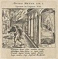Jupiter verandert koning Lycaon in een wolf Ovidii Metam. Lib. I Lycaon in Lupum VIII (titel op object) Scènes uit het eerste boek van Ovidius' Metamorphosen (serietitel) Metamorphoseos liber primus (..) (serietitel), RP-P-OB-24.915.jpg