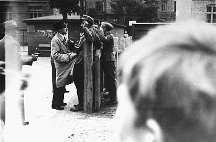 Danish SS soldiers held up by resistance fighters and disarmed in Copenhagen, 1945 Kobenhavn, 1945.jpg