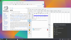 KDE Software Compilation - The Kontact personal information manager and Konqueror file manager/web browser running on KDE Plasma 5.2