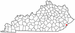 Location of Whitesburg, Kentucky