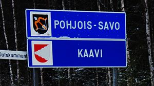 Boundary marker - A typical roadside border marker in Finland, entering Kaavi municipality in Pohjois-Savo region.