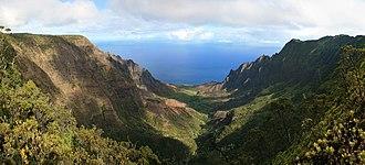 Leper War on Kauaʻi - Kalalau Valley viewed from the Nā Pali Kona Forest Reserve Pihea Trail.