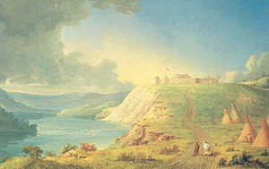 History of Alberta - Fort Edmonton; painting by Paul Kane (1810–1871), 1849–56.