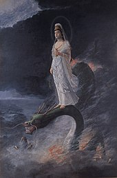Painting of a woman standing on the head of a dragon