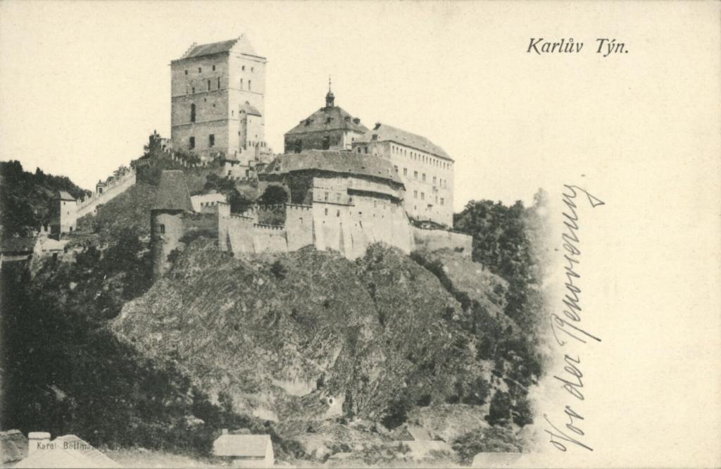Chateau de Karlstejn en Républlique Tchèque vers 1890.