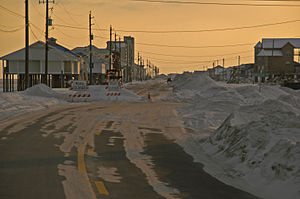 Effects of Hurricane Katrina in Florida - Roads covered by sand along the Florida panhandle