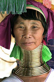 A Kayan woman with neck rings.