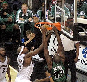 Kendrick Perkins - Perkins (right) dunking over Brendan Haywood of the Washington Wizards