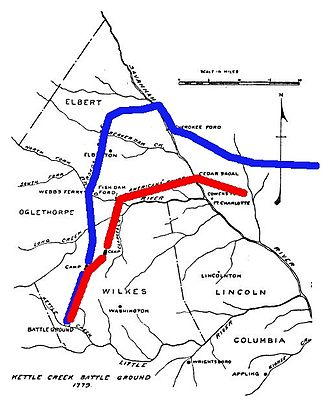 Battle of Kettle Creek - A 1926 map reconstructing the arrival routes of the forces at the battlefield. The British route is highlighted in blue, the Patriot route in red.