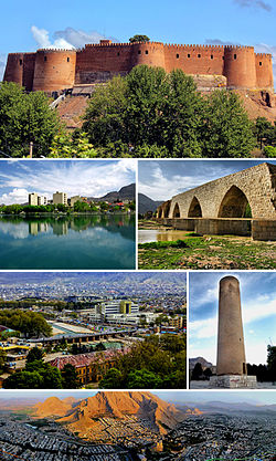 Montage of Khorramabad, Clockwise:Falak-ol-Aflak Castle, Keeyow lake, Shapuri bridge, View of the Khorramabad city, Brick Minaret, Panorama of the Khorramabad