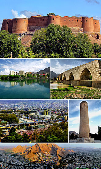 Khorramabad - Montage of Khorramabad, Clockwise:Falak-ol-aflak castle, Kiu lake, Shapouri bridge, View of the Khorramabad city, Brick minaret, Panorama of the Khorramabad