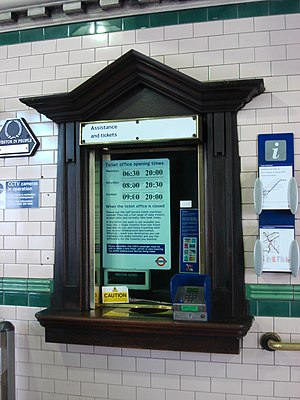 Kilburn Park tube station - Image: Kilburn Park tube ticket window