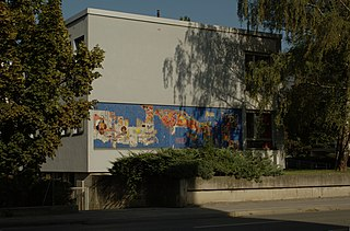 Kindergarten, Mosaik an der Westfassade