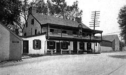 The King of Prussia Inn as it appeared circa 1919 prior to restoration and relocation.