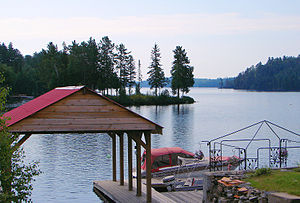 Boathouse on Lake Kipawa, at Laniel, Quebec, C...