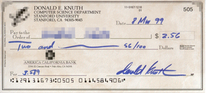 One of Donald Knuth's reward checks. Note that...