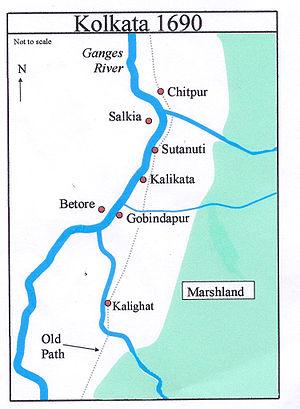 Chitpur - Image: Kolkata Map 1690