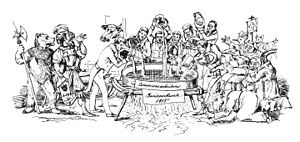 Federal Treaty - Too many cooks spoil the broth. Cartoon on the Federal Treaty's creation by Heinrich von Arx, 1833