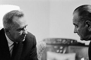 Cold War (1962–1979) - Soviet Premier Alexei Kosygin (left) with U.S. President Lyndon B. Johnson at the 1967 Glassboro Summit Conference.