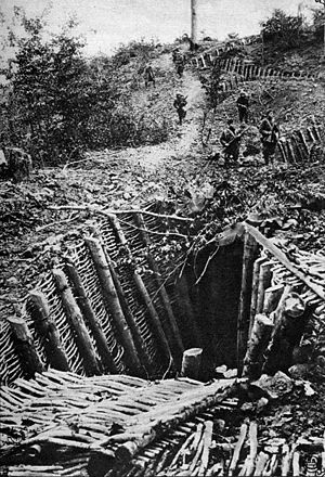 32nd Infantry Division (United States) - An example of the deep, fortified trenches facing the 32nd Div. along the Kriemhilde Stellung portion of the German Hindenburg Line, from the area of Riems to near Verdun.