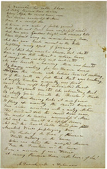 "Handwritten copy of the draft of ""Kubla Kahn""."