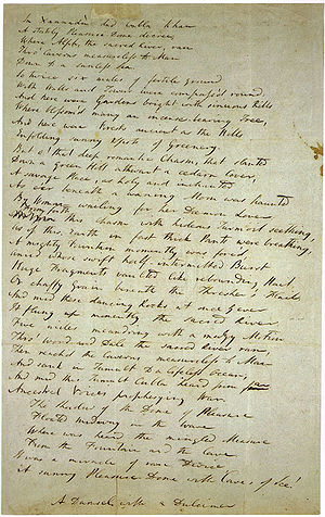Kubla Khan - The Crewe Manuscript, handwritten by Coleridge himself some time before the poem was published in 1816