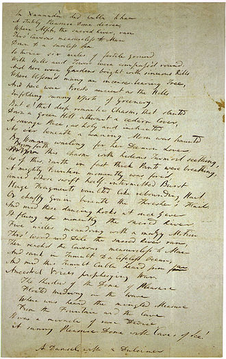 "1816 in poetry - Draft of ""Kubla Khan"" by Samuel Taylor Coleridge: written 1797; first published 1816"