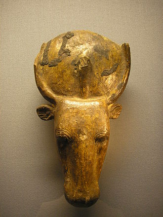 Apis (deity) - Mask of a mummy of a sacred bull with the sacred disk of Hathor, Kunsthistorisches Museum